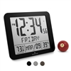 "Slim Atomic Full Calendar Clock with Large 3.25"" Digits, Indoor Temperature and Humidity (BLACK)"