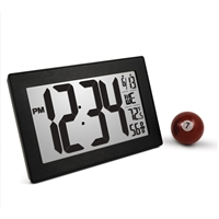 Atomic, Self-setting, Self-adjusting, Wall Clock w/ Stand & 8 Timezones (BLACK/BRUSHED STEEL)