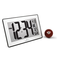 Atomic, Self-setting, Self-adjusting, Wall Clock w/ Stand & 8 Timezones (BLACK/STAINLESS STEEL))