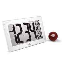 Atomic, Self-setting, Self-adjusting, Wall Clock w/ Stand & 8 Timezones (WHITE/STAINLESS STEEL)