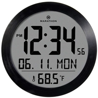 Round Digital Wall Clock with Date and Indoor Temperature. Foldout Table Stand - Batteries Included (Black Steel)