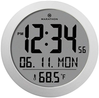 Round Digital Wall Clock with Date and Indoor Temperature. Foldout Table Stand - Batteries Included (Stainless Steel)