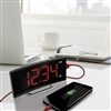 Curved Display LED Clock with Dual Alarm and 1 USB Charging Port (BLACK)