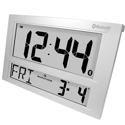 Marathon Jumbo Bluetooth Clock System for iOS/Android (SILVER)