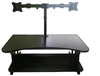 "Rocelco DADR Deluxe 37"" Sit To Stand Adjustable Height Desk Riser w/ Dual Monitor Mount (Black)"