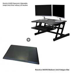 "Rocelco EADR+MAFM 32"" Adjustable-Height Desk Riser with Easy Lift Handles and Medium Anti-Fatigue Mat (Black)"