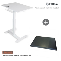 FitDesk Sit-to-Stand Adjustable Desk & Rocelco MAFM Medium Anti-Fatigue Mat Bundle (FD2050MAFM)