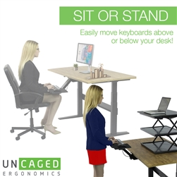 KT2 Ergonomic Sit or Stand Under-Desk Keyboard Tray, Fully Adjustable - Stand & Type by Uncaged Ergonomics