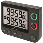 Marathon Dual Timer w/Large Display, Magnet Clip-On, Stand - Video Game Timer (BLACK)