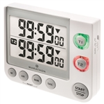 Marathon Dual Timer w/Large Display, Magnet Clip-On, Stand - Video Game Timer (WHITE)