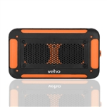 VXS-002-ORG - 360° Vecto Wireless Water Resistant Outdoor Speaker w/6000mAh Powerbank, 4GB Memory, Carry Pouch, Mic,MP3 player - Sports Orange