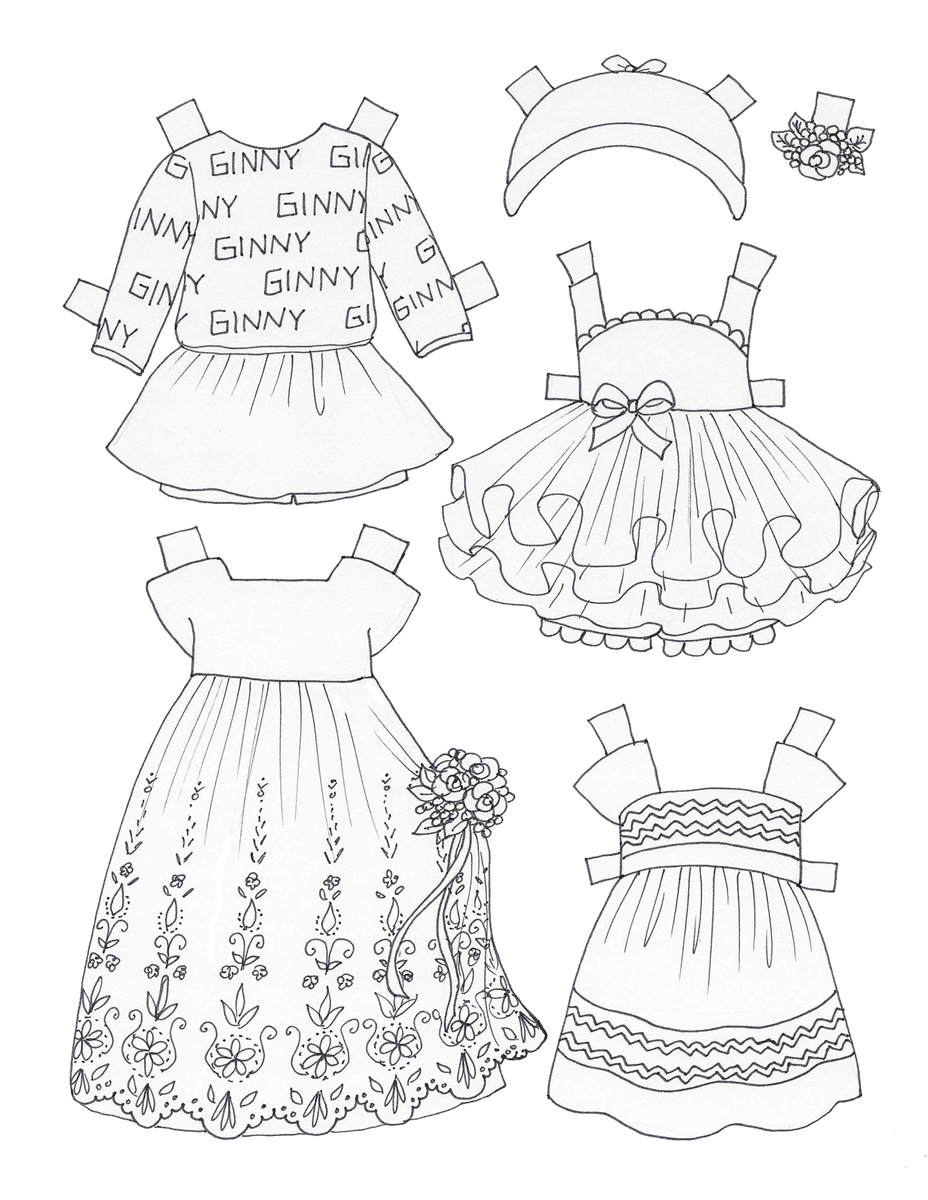 """""""Color Me Ginny"""" Paper Doll Coloring Book"""