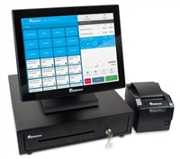 ePOS retail bundle including touchscreen, cash drawer, and receipt printer.