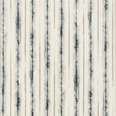 Soft Tan and Blue Abstract Watercolor Vinyl Stripe Wallcovering