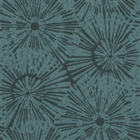 Starburst Print Contemporary Black and Indigo Vinyl Textured Wallcovering