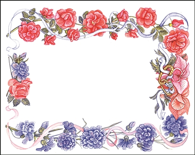 Falls 608 Enclosure Card - Red and Purple Flowers