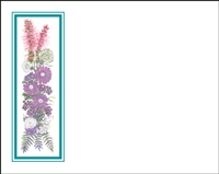 Falls 631 Enclosure Card - Purple Flowers with a Green Border