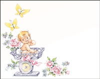 Falls 772  Enclosure Card - Baby in Carriage with Roses and Butterflies