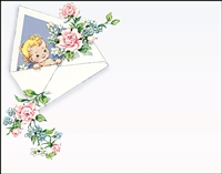 Falls 773  Enclosure Card - Baby with Pink and Blue Flowers
