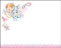Falls 774  Enclosure Card - Baby with Stuffed Rabbit and Rattle
