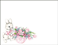 Falls 834  Enclosure Card - Easter Bunny with Flower Cart