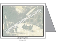 Currier & Ives - House and Sleigh Baronial Card