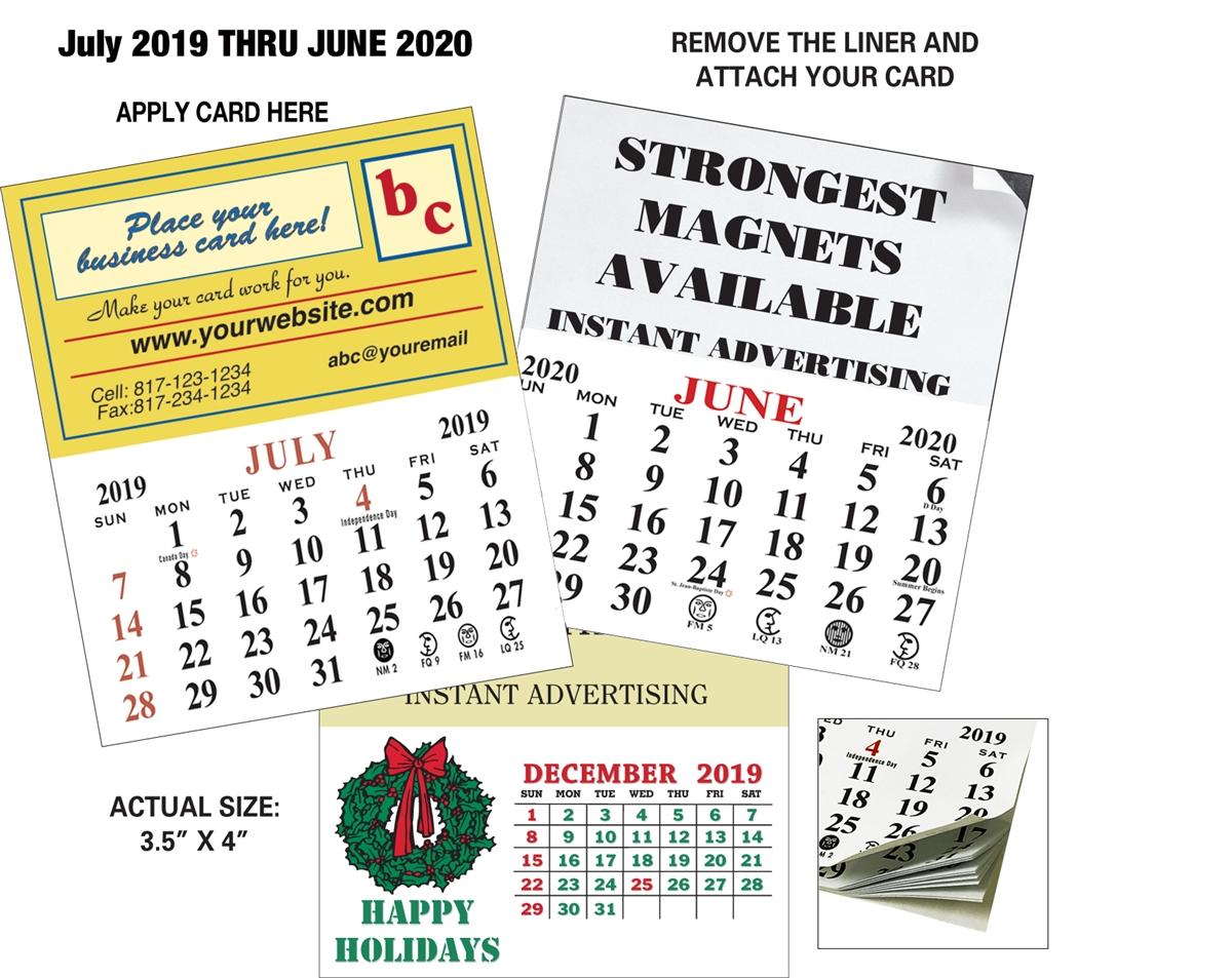 Calendar 2020 Business Card July December Magnetic Business Card Calendar   July Start