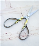 Teardrop Embroidery Scissors: Gunmetal & Gold