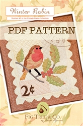 "A vintage ""stamp"" wall hanging complete with an embroidered postmark and adorable red robin"
