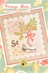"A vintage ""stamp"" wall hanging complete with an embroidered postmark and a vintage skate"
