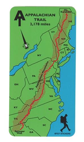 Full Appalachian Trail Map Sticker