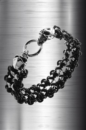 Braided Leather and Steel Skull Bracelet
