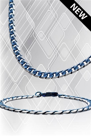 Blue Plated Cuban Curb Chain