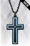Hammered Blue Line Cross w/Chain