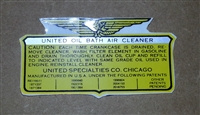 OHC-230 Oil Bath Air Filter Decal