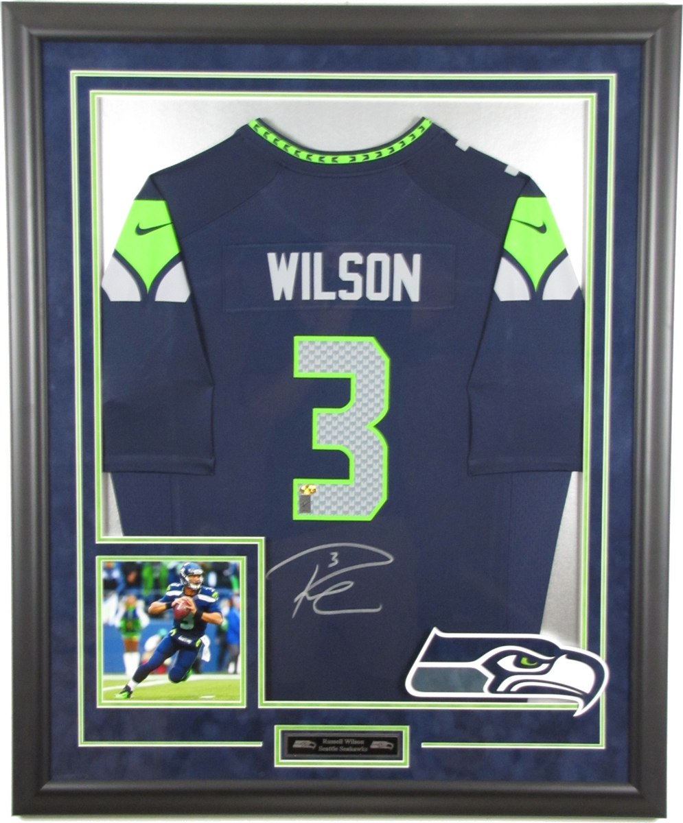 Russell Wilson Signed and Framed Jersey