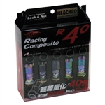 Project Kics R40 NeoChro Racing Composite Lug Nuts with Locks - 12x1.25mm (16 piece Lug Nut Set with 4 Locks)