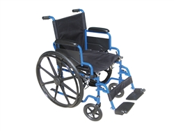 Blue Streak Wheelchair with Flip Back Desk Arms and Swing Away Footrest