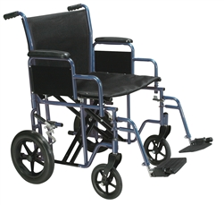 Bariatric Heavy Duty Blue Transport Wheelchair with Swing Away Footrest