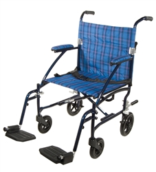 Fly Lite Ultra Lightweight Blue Transport Wheelchair