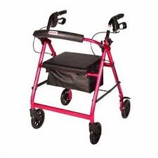 Red Rollator Walker with Fold Up Removable Back Support Padded Seat