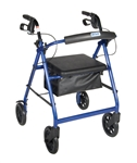 Blue Rollator Walker with Fold Up Removable Back Support Padded Seat