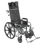 Silver Sport Reclining Wheelchair with Detachable Desk Length Arms and Elevating Leg rest
