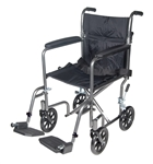 Lightweight Steel Transport Wheelchair with Fixed Full Arms