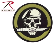 Military Skull w/ Knife Airsoft Patch w Velcro Back