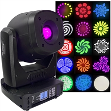 LED Moving Head Spot - Exceptionally Bright 100 Watt LED, 2 Gobo Wheels, 8 Fixed Gobos, 7 Rotating Gobos, 8 colors, 3 Prisms, Focus, Strobe, Dimming, Pan & Tilt - Adkins Pro Lighting