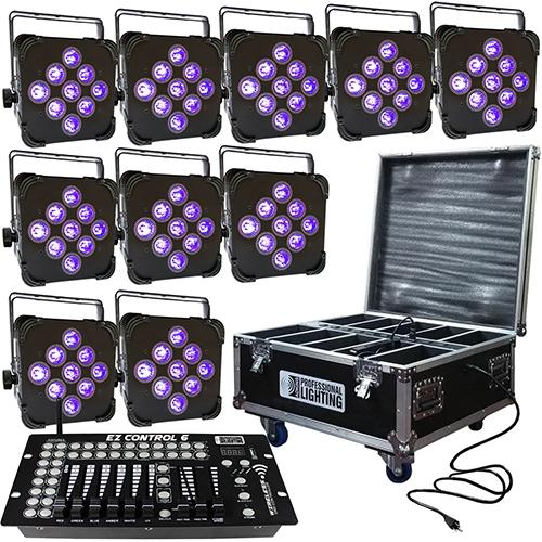 LED Battery Powered Wireless DMX - 16 Hour - 10 Lights w/Case - 9x6W  RGBAW+UV - w/ Easy Controller - Wedding Up Lights