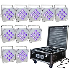 LED Battery Powered Wireless DMX - 16 Hour - 10 Lights w/Case - 9x6W RGBAW+UV - Wedding Up Lights