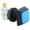 Small Square  Illuminated Pushbutton - Blue