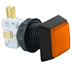 Small Square  Illuminated Pushbutton - Orange